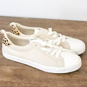 GAP Cream & Cheetah Lace-Up Sneakers